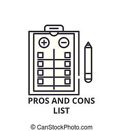 Pros and cons list line icon concept. Pros and cons list vector linear illustration, symbol, sign