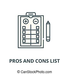 Pros and cons list vector line icon, linear concept, outline sign, symbol