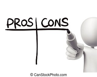 pros and cons words written by 3d man over transparent board
