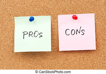 Pros and cons written on paper and pinned on corkboard