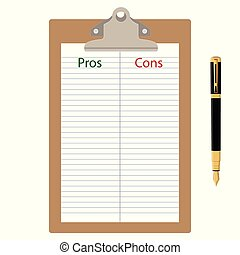 Pros Cons list paper on clipboard with pen.