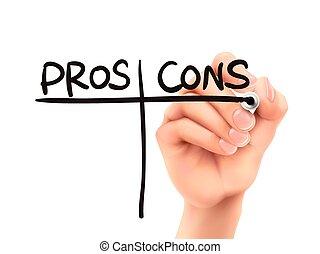 pros, og, cons., gloser, skriv, af, hånd