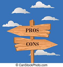 Pros or cons street sign, choice concept, vector illustration