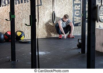 prosciugato, uomo, secondo, allenamento