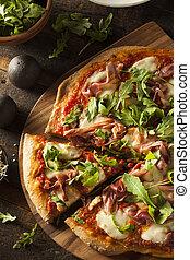 Prosciutto and Arugula Pizza with Marinara Sauce
