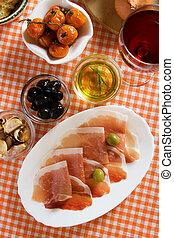 prosciutto, di, parma, italiensk, appetitvækkeren