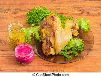 prosciutto infornato, hock, lattuga, prezzemolo, barbabietola, salsa barbaforte, francese, senape