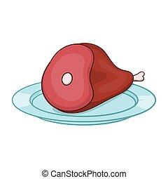 Cartone animato arrosto prosciutto. fuoco cartone animato maiale.