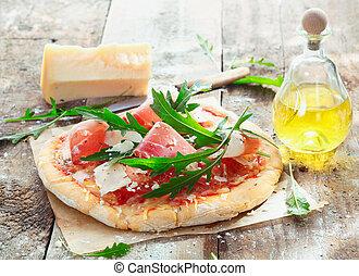 prosciutto, preparare, casalingo, pizza