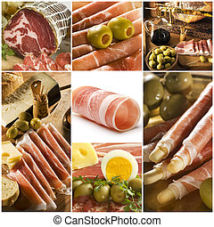prosciutto theme collage made from seven photographs