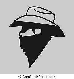 proscrito, vaquero, símbolo, gris, fondo