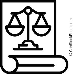 Prosecutor document icon, outline style