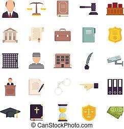 Prosecutor icons set flat vector isolated