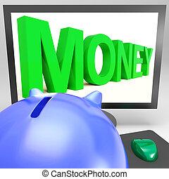 prospérité, projection, moniteur, argent