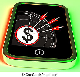 prospérité, smartphone, projection, dollar, symbole américain