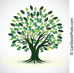 prospérité, vecteur, symbole, arbre