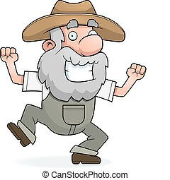 Prospector Celebrating - A happy cartoon prospector...