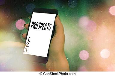 prospects., 潜在性, ポジション, 執筆, 顧客, showcasing, 下に, 写真, 現代, 候補者, バイヤー, 白, カラフルである, ビジネス, 小道具, ∥あるいは∥, 概念, 提示, バックグラウンド。, 手, スクリーン, 仕事, bokeh