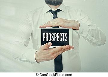 prospects., 潜在性, ポジション, 執筆, 黒, 表示, 顧客, showcasing, モデル, smartphone, 写真, 現代, mock-up., 候補者, バイヤー, ビジネス, ∥あるいは∥, 提示, スクリーン, 仕事, メモ