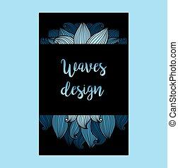 prospectus bleu, arrière-plan noir, vagues