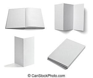 prospectus, cahier, manuel, blanc, vide, papier, gabarit