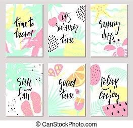 prospectus, coloré, vacances, été, arrière-plan., cartes, ...