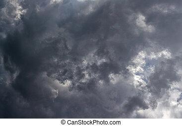 prospekt, chmury, tło., szary, lato, burza, gruntowy, surface., zenit