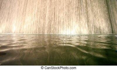 prospekt dołu, na, ogromny, bajeczka, sztuczny, wodospad, domowy