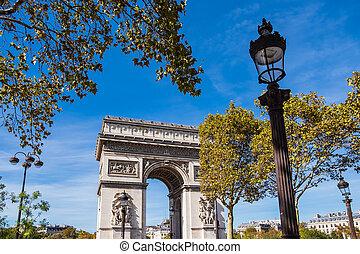 prospekt, do, przedimek określony przed rzeczownikami, triumfalny obłąk, w, paryż, francja