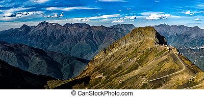 prospekt, góra, panoramiczny, grzbiet