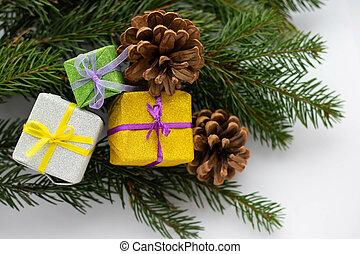 prospekt, gałęzie, drzewo, biały, stożki, tło., gwiazdkowy dar, jodła, górny, kopia, pieśń, płaski, przestrzeń, composition., sosna