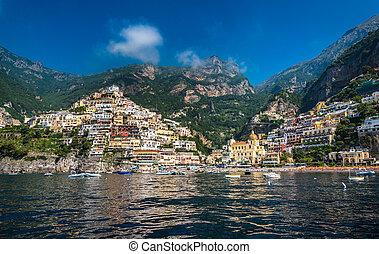 prospekt, mały, campania, brzeg, positano, miasto, amalfi, panoramiczny, włochy