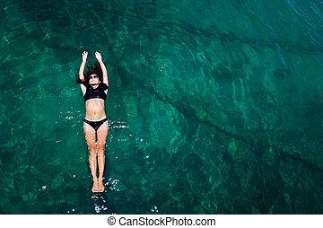 prospekt, morze, kobieta, antena
