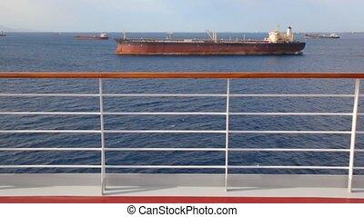 prospekt, na, barki, w, morze