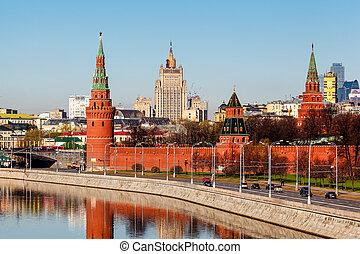 prospekt, na, moskwa, kreml, i, ministerstwo obcych spraw,...