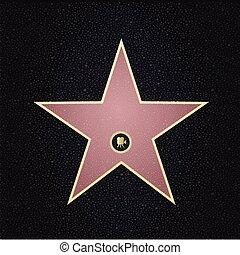 prospekt., name., sława, miejsce, górny, gwiazda