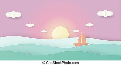 prospekt, niebo, papier, słońce, łódka, wektor, ilustracja, sztuka, poza, ruchomy, komplet, morze, nawigacja, cloud., styled., cięty