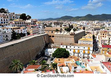 prospekt, od, dalt, vila, przedimek określony przed rzeczownikami, stare miasto, od, ibiza miasto, w, ibiza, balearic wyspy, hiszpania