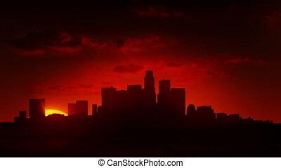 prospekt, od, miasto, na, wschód słońca