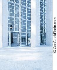 prospekt, od, nowoczesny, błękitny, barwny, współczesne biuro, miasto, gmach, fragment