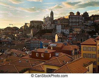 prospekt, od, porto, portugalia, podczas, zachód słońca