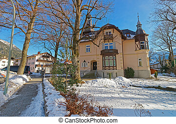 prospekt, od, przedimek określony przed rzeczownikami, uroczy, dom, w, garmisch-partenkirchen
