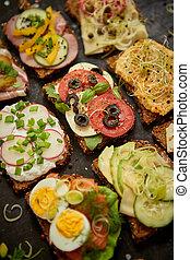 prospekt, ozdobny, sandwicze, appetizer., mąka, jadło., górny, zdrowy, roślina, różny