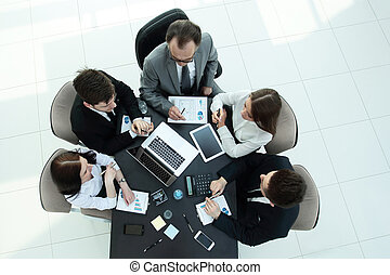 prospekt., pracujący, finansowy, handlowy, wykresy, drużyna, górny