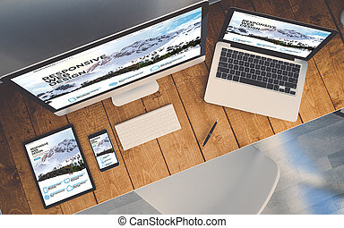 prospekt, projektować, website, górny, czuły, pokaz, urządzenia, miejsce pracy