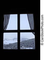 prospekt, przez okno