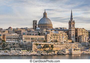 prospekt, sylwetka na tle nieba, seafront, malta, valletta