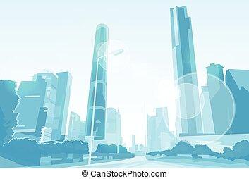 prospekt, sylwetka na tle nieba, wektor, miasto, drapacz chmur, cityscape