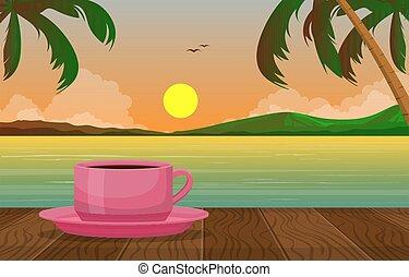 prospekt, zachód słońca, herbata, plaża, filiżanka, jezioro, tropikalny, ilustracja