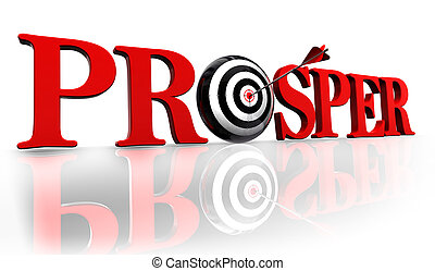 prosper red word and conceptual target with arrow on white background